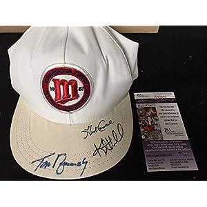 1987 Minnesota Twins SIGNED Cap Hat Kent Hrbek Tom Brunansky Herb Carneal JSA Certified Autographed Hats