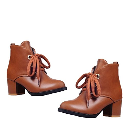Nonbrand Women's Block Heel Synthetic Ankle Boots Brown 9pKUfbhEq