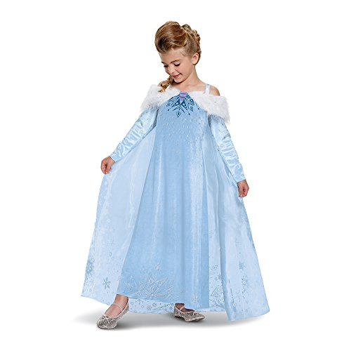 Elsa Frozen Adventure Dress Deluxe Costume, Multicolor, Medium (7-8) -