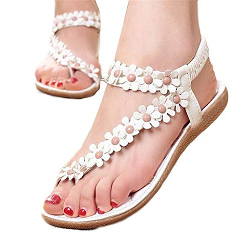 Aunimeifly Ladies Summer Holiday Bohemian Style Beaded Decor Sandals Sweet Style Clip Toe Beach Shoes White