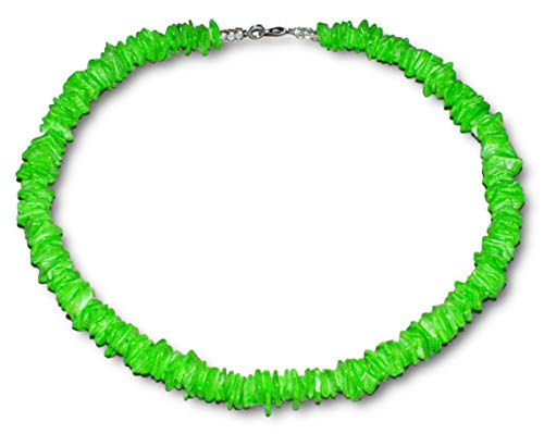 - Native Treasure White Rose or Colored Clam Chips Puka Shell Necklace with Lobster Clasp (Green)