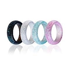 Banda de silicona para anillos de boda Syourself – Paquete de 4 anillos seguros, flexibles, ajuste cómodo de anillos para hombres y mujeres con ...