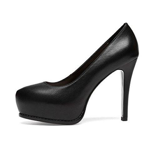 De Pour Talons En Mariage Chaussures Noir Shoes Chaussures Peu forme Cuir Mariée Court Soirée Profondes à Plate De Femmes Pompes Hauts Pointues AtaqnT