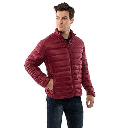 Jacket Coat Fill (alpine swiss Niko Men's Down Jacket Puffer Coat Packable Warm Insulation & Light RED SML)