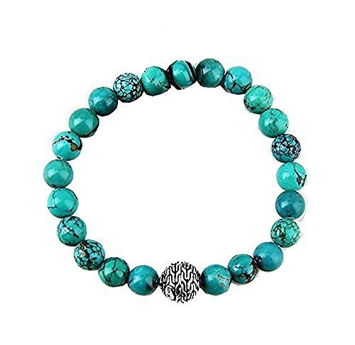 (HJ John Hardy Sterling Silver BEDEG Turquoise Beads 8