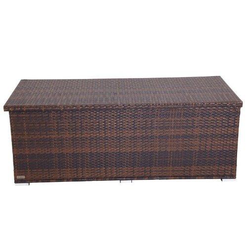 OUTFLEXX Kissenbox aus Polyrattan 204x94x75cm in braun marmoriert