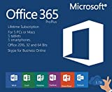 Microsoft Office 365 Pro Lifetime Subscription | Includes Office 2016 Pro Plus | 5 Devices 32 and 64 Bits Mac and PC: more info