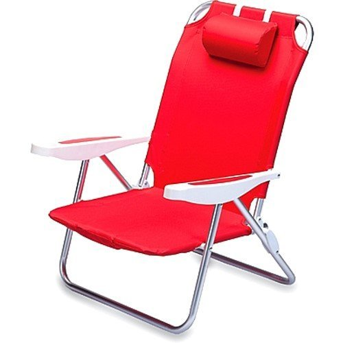 (Picnic Time Monaco Folding Beach Chair, Red)