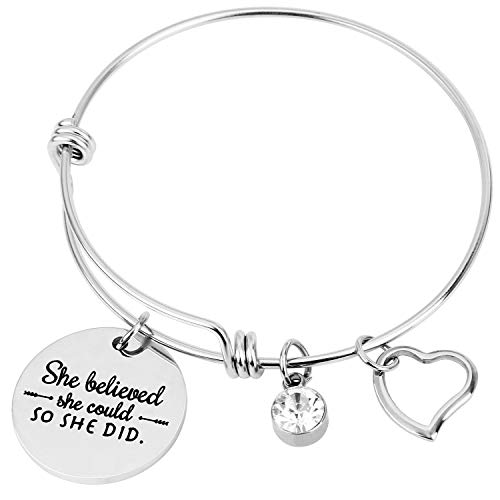 Lavias Inspirational Charm Bangle, Adjustable Bracelet, Expandable Stainless Steel Jewelry for Women Girls Sister Mother Friends