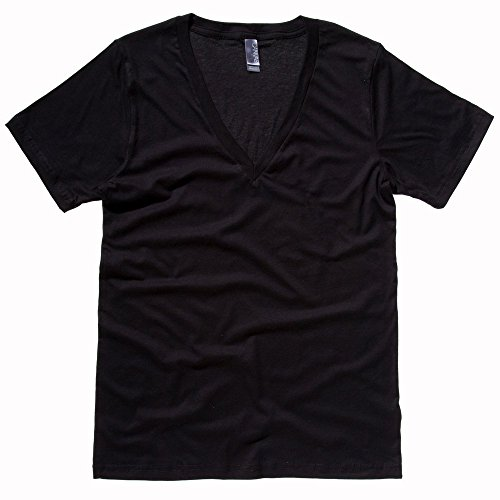 (Bella+Canvas Unisex jersey deep v-neck t-shirt Black M)