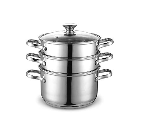 Cook N Home NC-00313 Double Boiler Steamer 4Qt silver (Renewed)