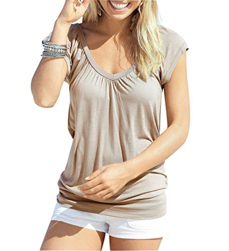 Jusfitsu Womens Banded Bottom Tops V Neck Flutter Sleeve Cozy Tunic Blouses Yoga Shirt Brown ()