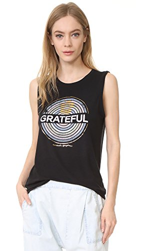 Spiritual Gangster Women's Grateful Medallion Chakra Tank, Black, X-Small (Gangster Woman)