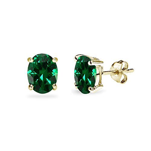 Sterling Silver Simulated Emerald 7x5mm Oval-Cut Solitaire Stud Earrings ()