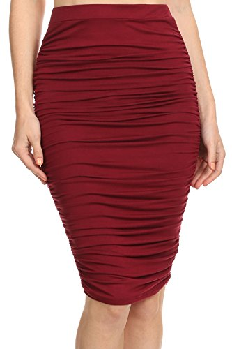 MeshMe Womens Diana - Maroon Burgundy Wine Lipstick Red High Waist Ruched Fall Autumn Winter Romantic Dinner Event Holiday Party Bottom Outfit Pinup Girl Diva Vintage Couture Midi Pencil Skirt Small - Pin Up Girl Outfits