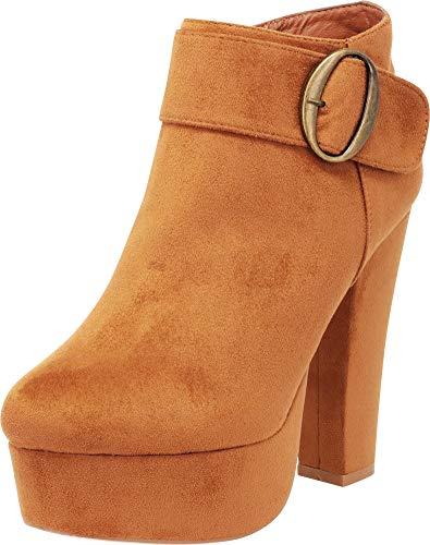 Cambridge Select Women's Wraparound Buckle Chunky Platform High Heel Ankle Bootie,8 B(M) US,Tan IMSU]()