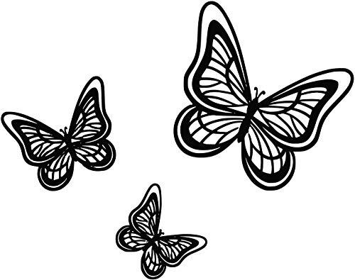 Trio Art Butterfly (FSDS Wall Vinyl Stickers - Butterfly Trio Wall Art Sticker - Home Decoration Wall Decals)