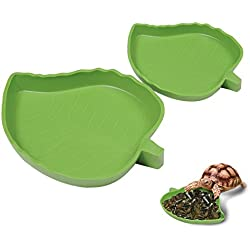 Yunt Pet Aquarium Ornament Leaf Reptile Food and Water Bowl Terrarium Dish Plate Supplies(Small)