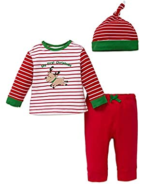 Baby Boys' First Christmas Jogger Set and Hat