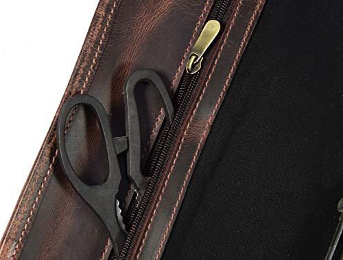 Leather Knife Roll Storage Bag | Elastic and Expandable 10 Pockets | Adjustable/Detachable Shoulder Strap | Travel-Friendly Chef Knife Case Roll By Aaron Leather (Raven, Canvas) by AARON LEATHER GOODS VENDIMIA ESTILO (Image #3)