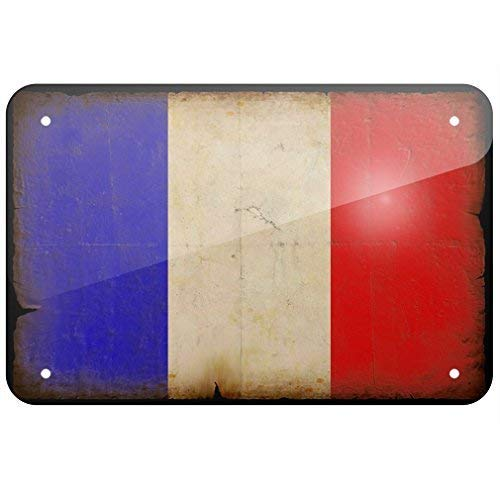 NGFD Metal Sign French Flag with a Vintage Look, Small 8x12 inch Metal Tin Sings -