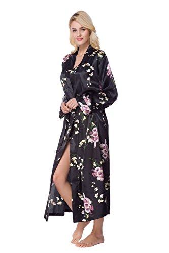 - Sunrise Women's Long Classic Satin Kimono Lounge Bathrobe Robe(S,Black AOP)