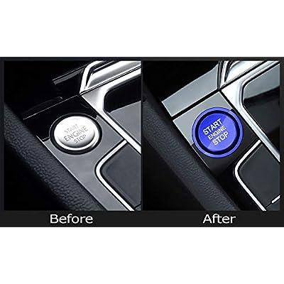 iJDMTOY Set of RS Style Blue Aluminum Keyless Engine Push Start Button w/Surrounding Ring Trim Compatible With Golf GTI Jetta Atlas Tiguan Passat CC Beetle, etc: Automotive