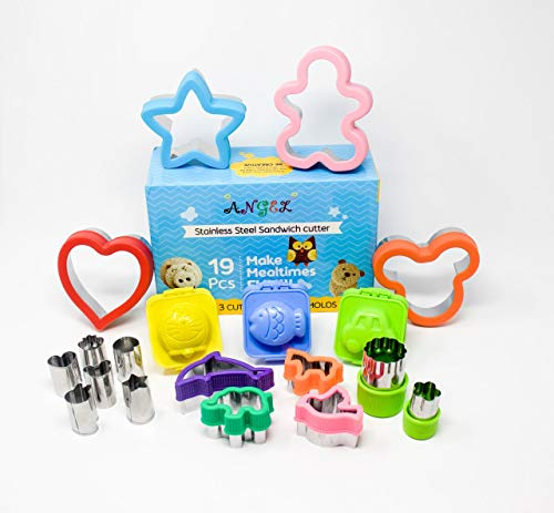 Angel- 19 Pcs Durable Stainless Steel Sandwich Cutters & Cookie Cutters For Kids/Cute and Fun Shapes for both Boys/Girls. Bonus-3 Free Mini Rice Molds. Perfect For Kids Bento Boxes/Special Occasions