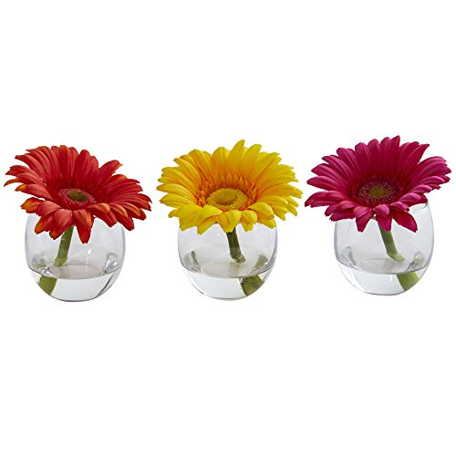 Nearly Natural Gerbera Daisy Artificial Arrangement in Glass Vase, Set of 3, Multi/Color, 3 (Gerbera Flower Arrangements)
