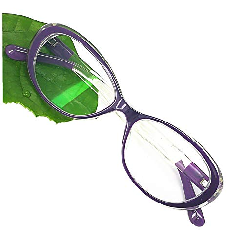 (Reading Glasses Blue Light Blocking - Oval Computer Eyeglasses Frames for Women (Violet Crystal,0.25))