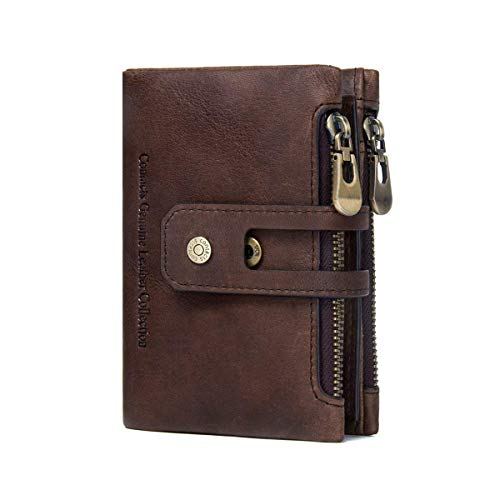 (Showtime Mens Leather Wallet with Zipper, Credit Card Vintage Purse, Minimalist Wallets for Men Coffee)