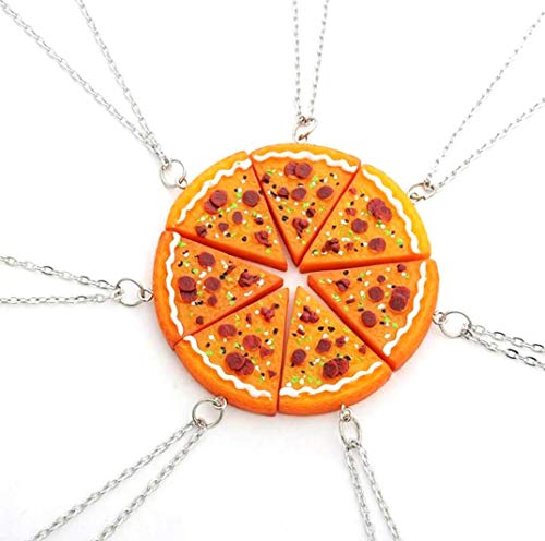 Fusicase 6pcs/lot Bling Silver Friend Friendship Couple Pizza Metal Necklace(Orange)