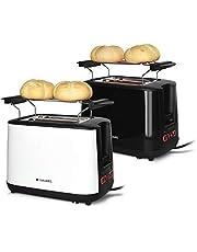 Navaris Tostapane Doppio per 2 Fette Pane Toast - in Metallo 1000W - Toaster Automatico con 2 Fessure Extra Large 6 Livelli di Riscaldamento - Bianco
