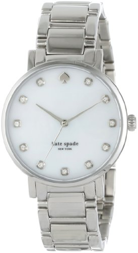 kate spade new york Women's 1YRU0006 Gramercy Silver-Tone Crystal-Accented Watch with Link Bracelet ()
