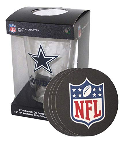 Dallas Cowboys Stainless Steel Coasters 4 Pack: Dallas Cowboys Pint Glass And Coaster Set