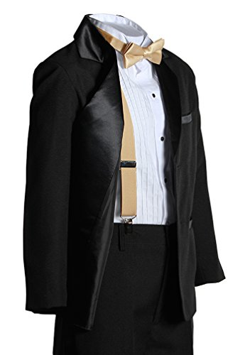 Toddlers Two Button Notch Tuxedo with Antique Gold Suspender Bow Tie Set from Tuxgear
