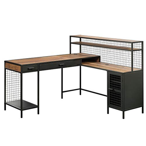 Sauder Boulevard Caf L-Shaped Desk, L 60.71 x W 57.64 x H 42.48 , Vintage Oak finish