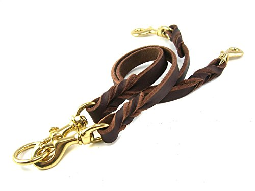 OCSOSO Dual Double Dog Leash No-Tangle Geniue Leather Braided Lead for Two Medium Large Dogs (L) by OCSOSO