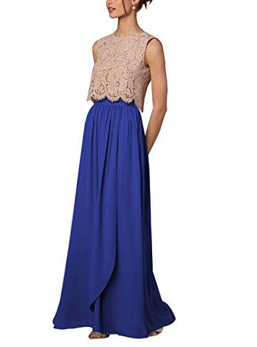 CoutureBridal Femme Jupe de Plage Longue t Haute Taille pour Soire Mariage Elgante Maxi Chiffon Blau Saphir