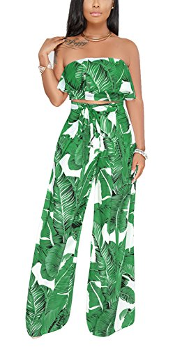 Bluewolfsea Women Sexy Leaf Print 2 Piece Ruffle Off The Shoulder Crop Tops and Pants Set Bandeau Jumpsuit Romper Medium Green - Leaf Print Pant Set