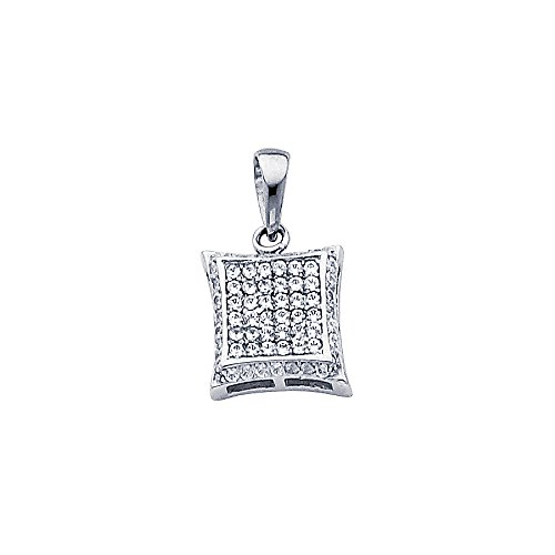 Designer Square Charms (Wellingsale 14K White Gold Polished Curved Square Charm Pendant with Micro Pave CZ Accent)