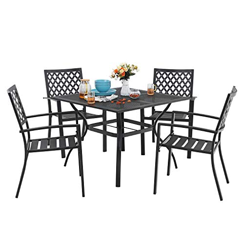 MF 5 Piece Outdoor Patio Metal Dining Sets – 37″ Square Mesh Patio Bistro Table with Umbrella Hole and Armrest Dining Chairs, Black