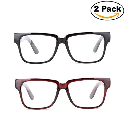 Newbee Fashion - Unisex Thick Squared Frame Quality Build Sturdy Square Clear Lens Fashion Glasses for Men & - Square And Round Glasses