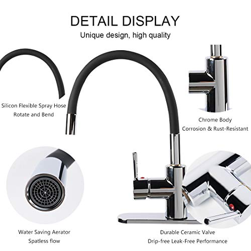 Skfirm Single Handle 360 Degree Swivel Sprayer Kitchen Faucet, Contemporary Kitchen Sink Faucets with Flexible Silicone Neck Pull-down Spray Head (SK-EA03) by Skfirm (Image #3)