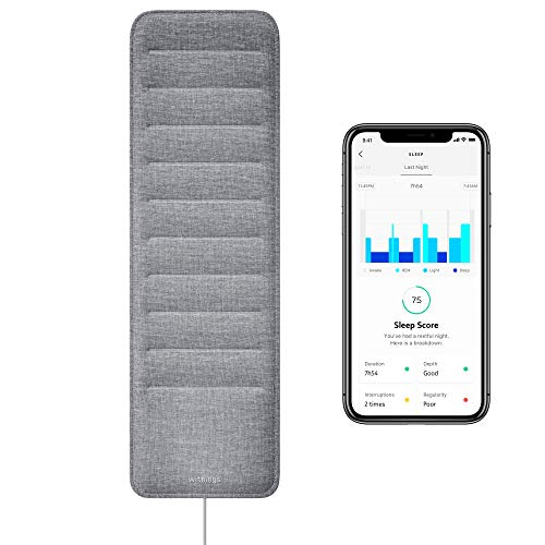- Withings Sleep - Sleep Tracking Pad Under The Mattress with Sleep Cycle Analysis, Sleep Score & Sleep Sensor to Control Light, Music & Room Temperature, Breathing Disturbances - Compatible with Alexa