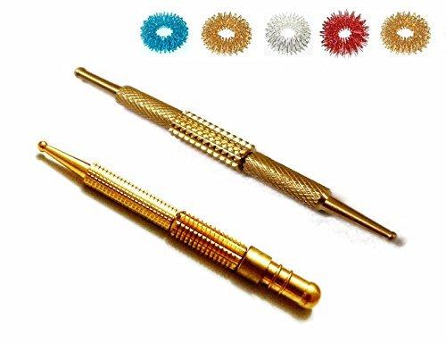 ACS / ACM Sujok Acupressure Probe Center Roller I & II Metal Diagnostic Jimmys + 5pcs Sujok Rings Center Roller-I L – 9.30Cm, Center Roller-Ii L - 8 Cm Brass