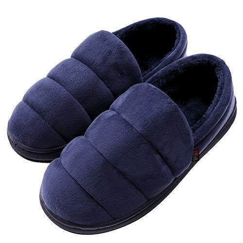 TRUEHAN Mens Memory Foam Slipper Comfy Warm Lightweight Plush Fleece Slip On Slipper for Indoor and Outdoor House Shoes (11-12 D(M) US, Blue)