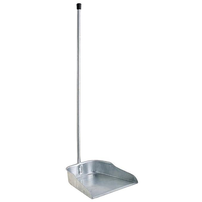 ORYX Recogedor Galvanizado con Mango 77 cm, Acero Inoxidable, Plateado, 24x24x72 cm