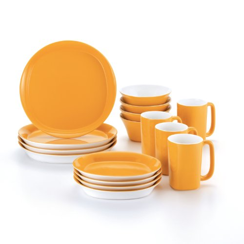Rachael Ray Dinnerware Round and Square 16-Piece Dinnerware Set, Yellow