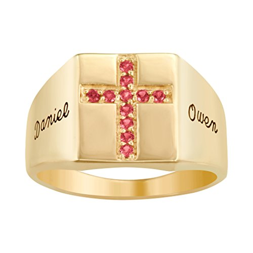 ArtCarved Glory Simulated Ruby Personalized Christian Men's Ring, 10k Yellow Gold over Silver, Size 11 ()
